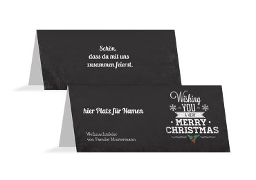 Tischkarte Merry Christmas 100x44mm 5000112170