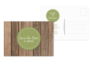 Save-the-Date Vintage Holz PastellHellGrün 148x105mm