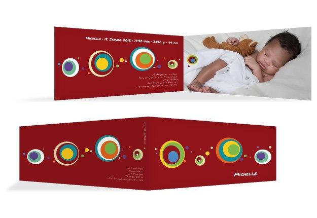 Babykarte Retro Kreise