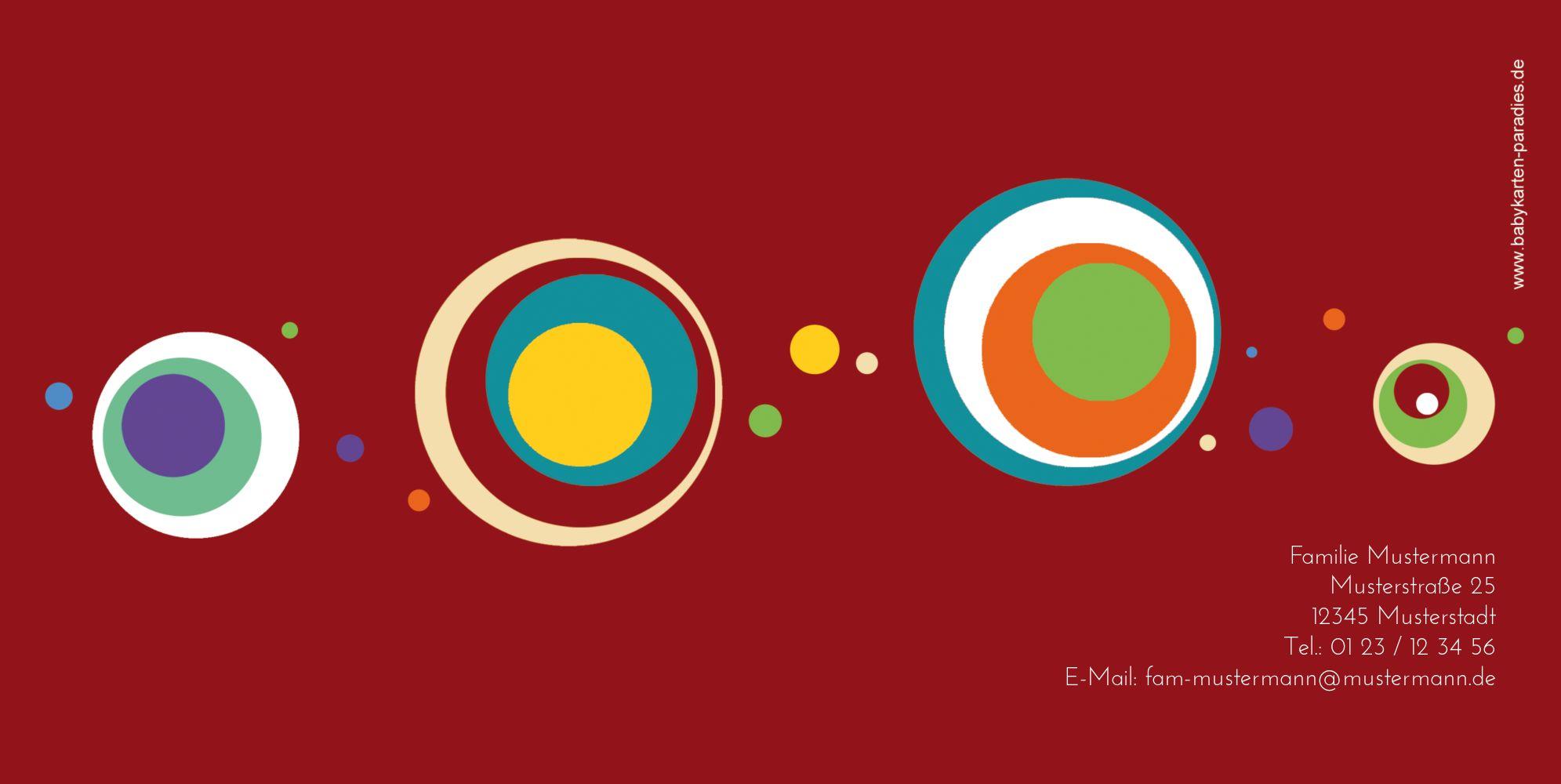 Ansicht 2 - Babykarte Retro Kreise