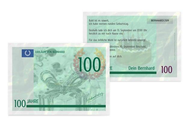 Geburtstagseinladung Geldschein 100