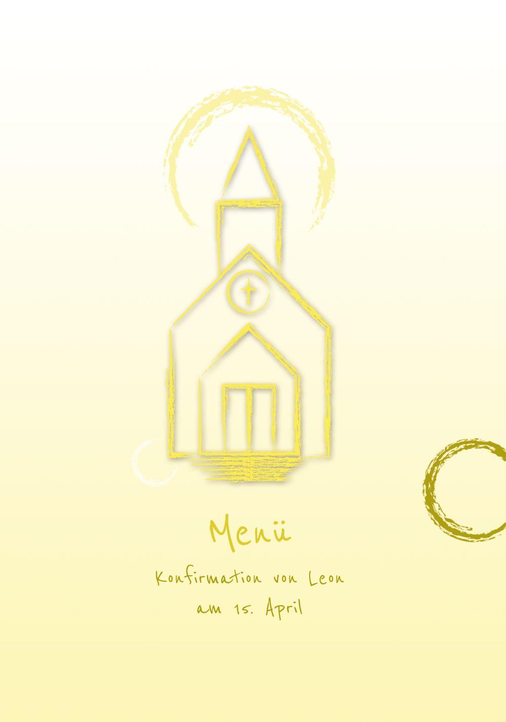 Ansicht 3 - Menükarte zur Konfirmation Kirche