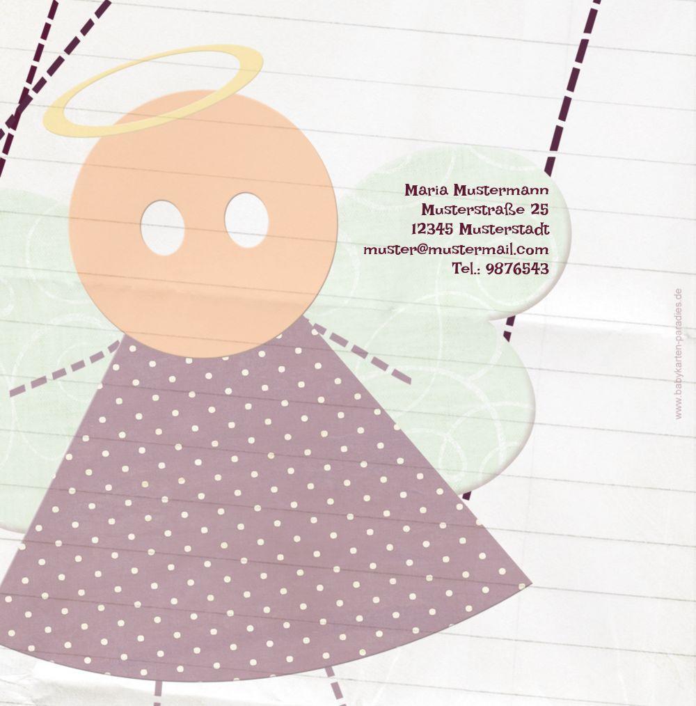 Ansicht 2 - Taufkarte Stoffengelchen