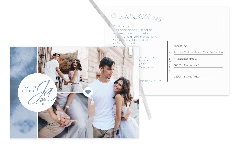 Hochzeit Ballonkarte Sanft