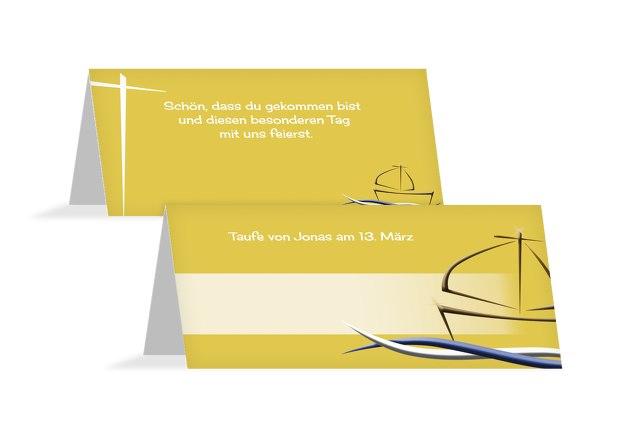 Taufe Tischkarte Schiffchen auf Wellen