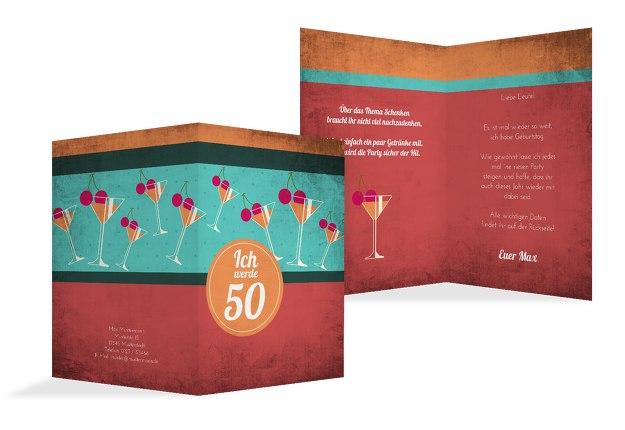 Karte 50 Geburtstag.Geburtstagseinladung Cocktailparty 50