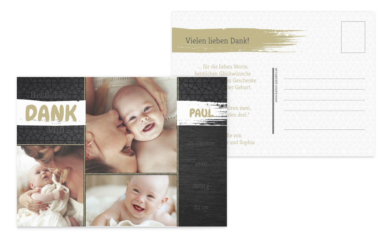 Baby Dankeskarte Schiefer
