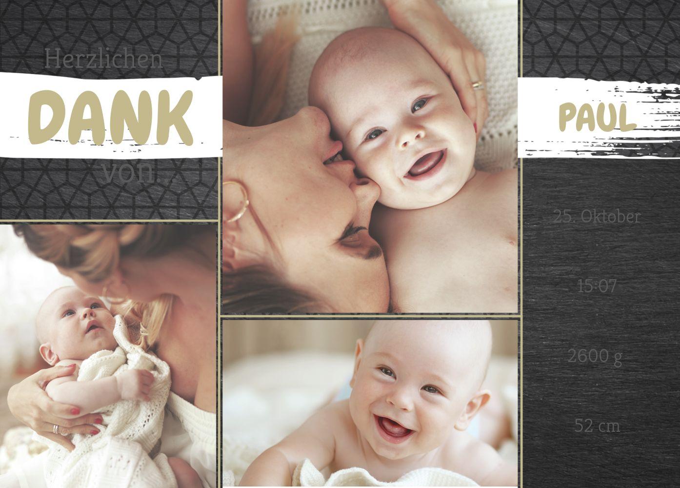 Ansicht 2 - Baby Dankeskarte Schiefer