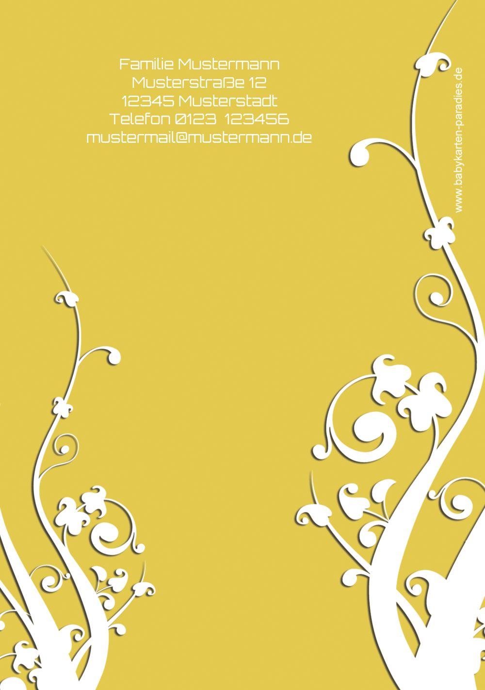 Ansicht 2 - Taufkarte Florale Schnörkel
