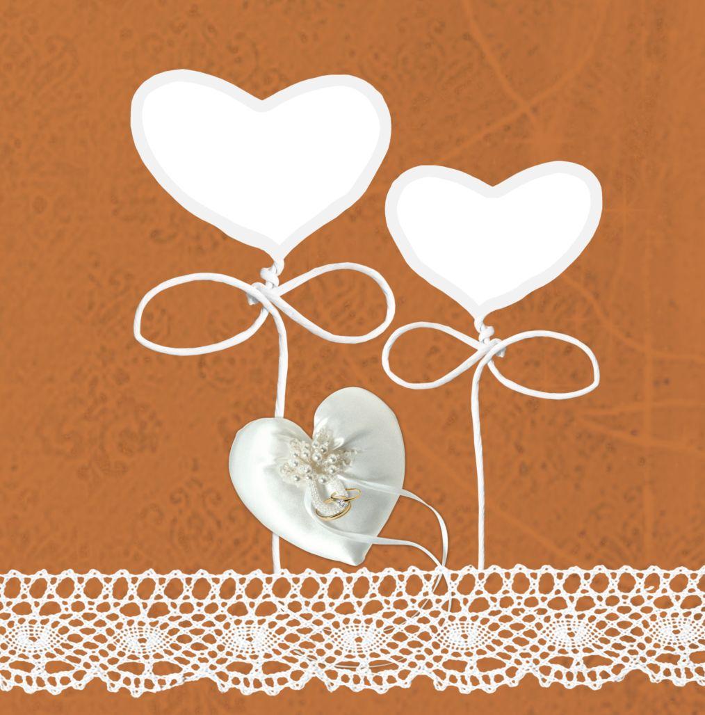Ansicht 4 - Kontur Einladung Herzband Blumen