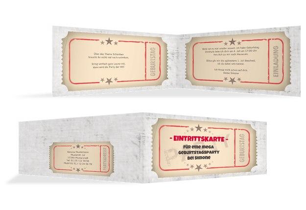 Einladung zum Geburtstag Eintrittskarte