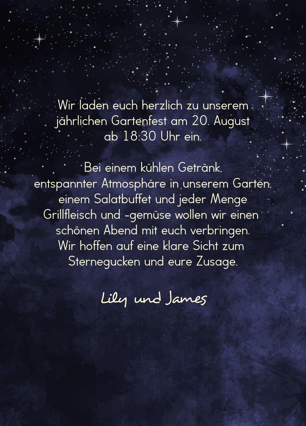 Ansicht 3 - Einladung Sommerfest Sternennacht