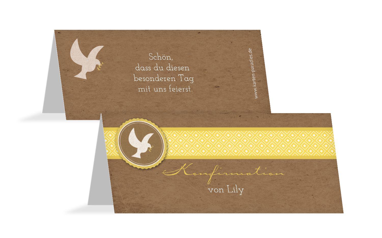 Konfirmation Tischkarte Flügelschlag