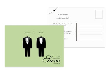 Hochzeit Save-the-Date suits MattGrün 148x105mm