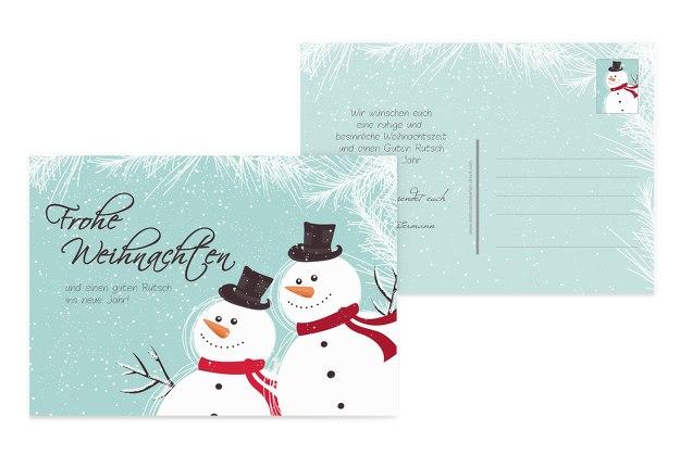 Grußkarte Schneemänner