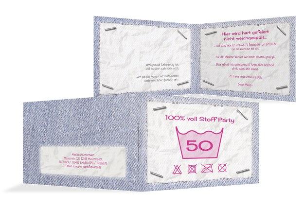 Einladungskarte Waschzettel 50