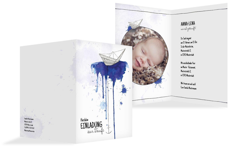 Taufe Einladungskarte Origamischiff