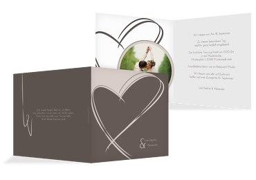 Hochzeit Einladungskarte Doppelherz
