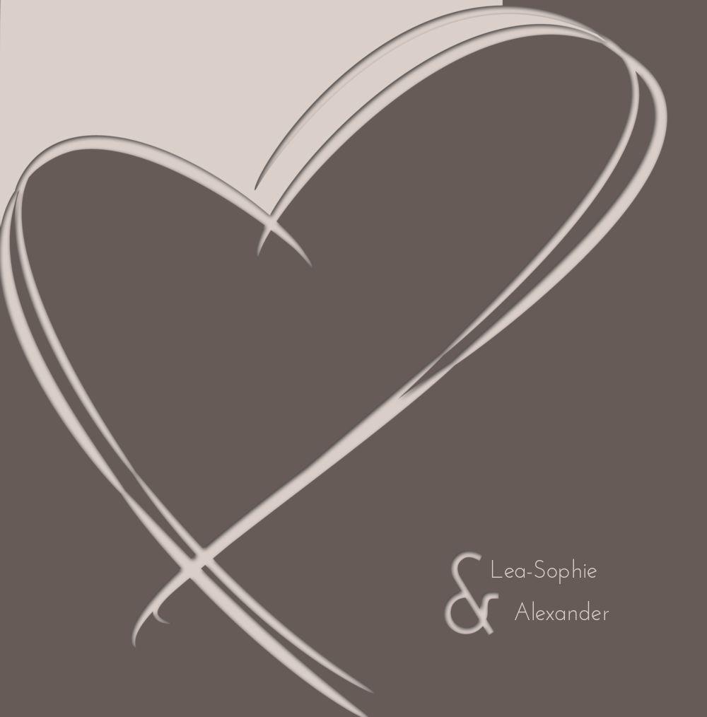 Ansicht 3 - Hochzeit Einladungskarte Doppelherz