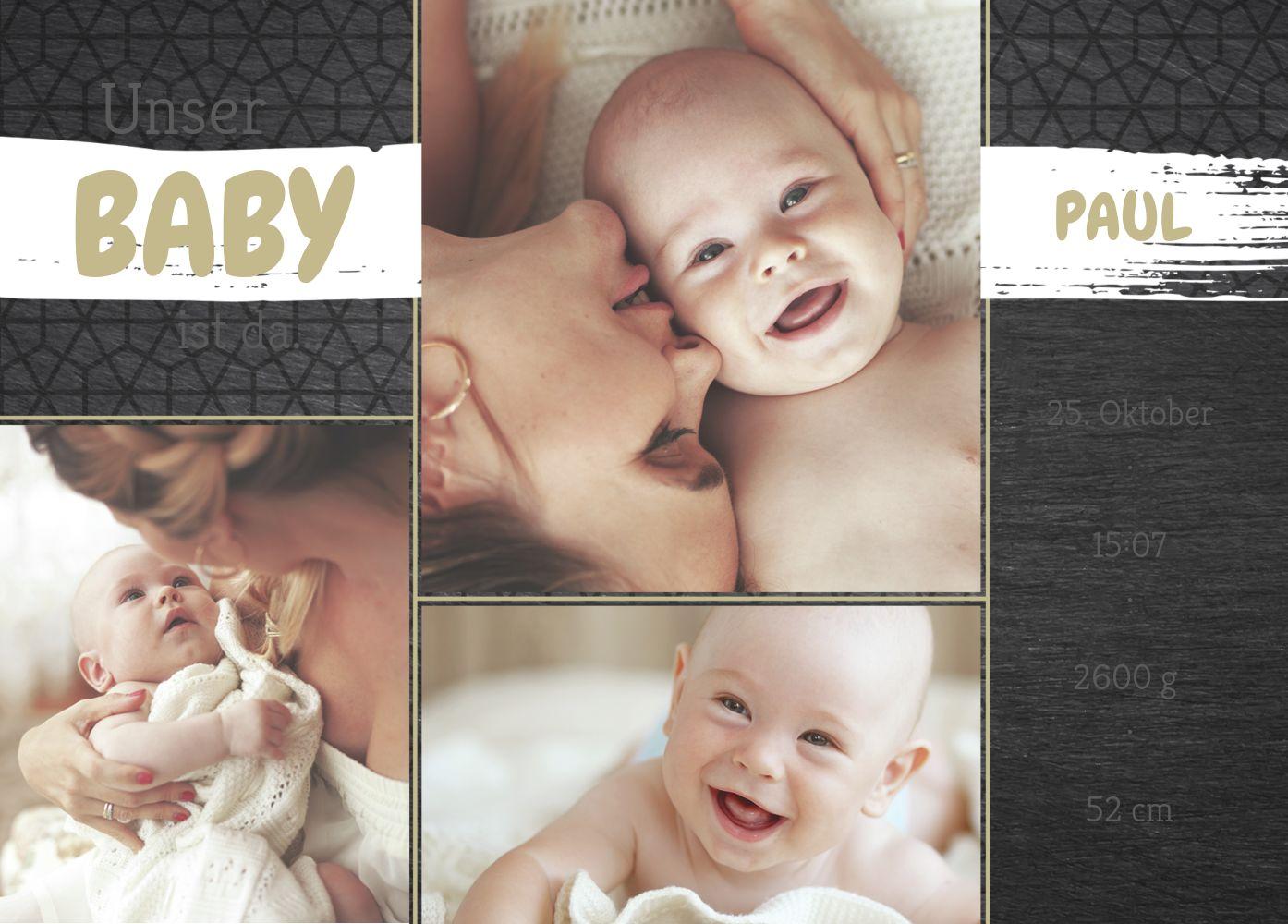 Ansicht 2 - Babykarte Schiefer