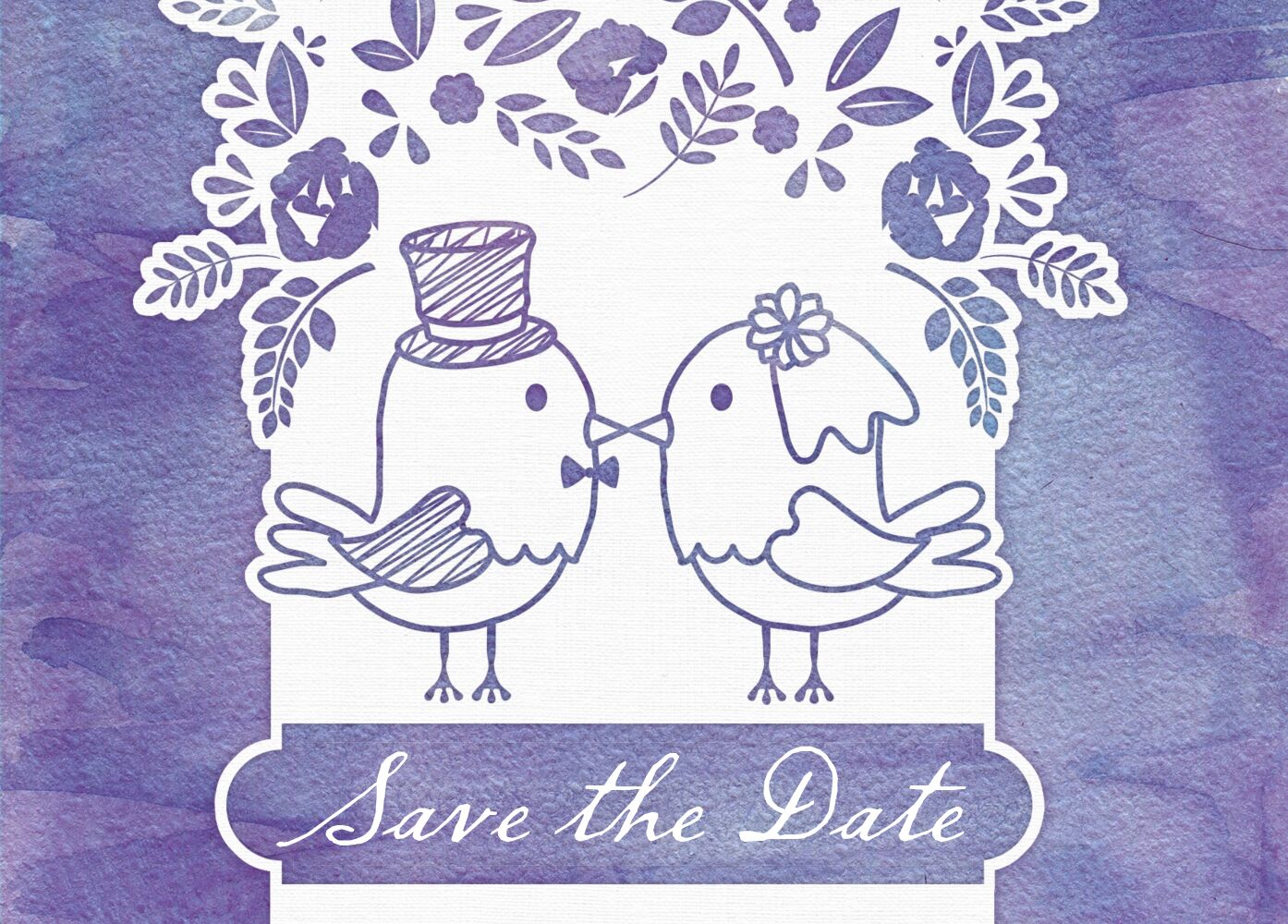 Ansicht 2 - Save-the-Date Vogelpaar