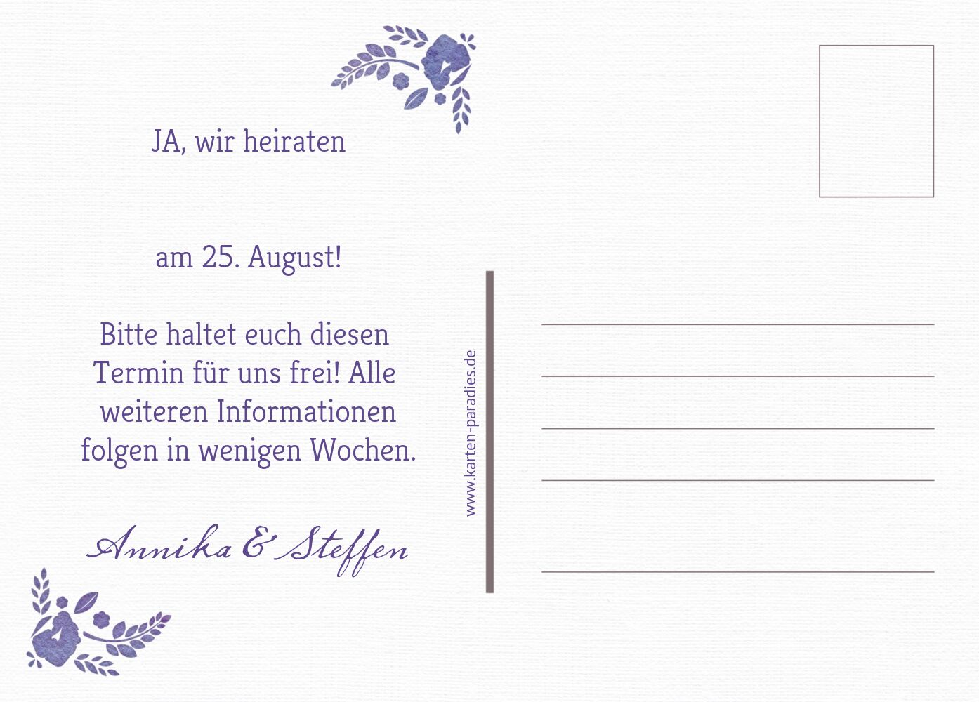 Ansicht 3 - Save-the-Date Vogelpaar