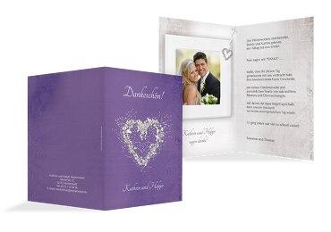 Hochzeit Dankeskarte glamour heart