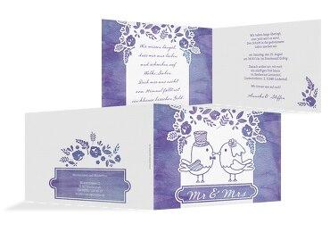Hochzeit Einladung Vogelpaar Lilamatt 148x105mm
