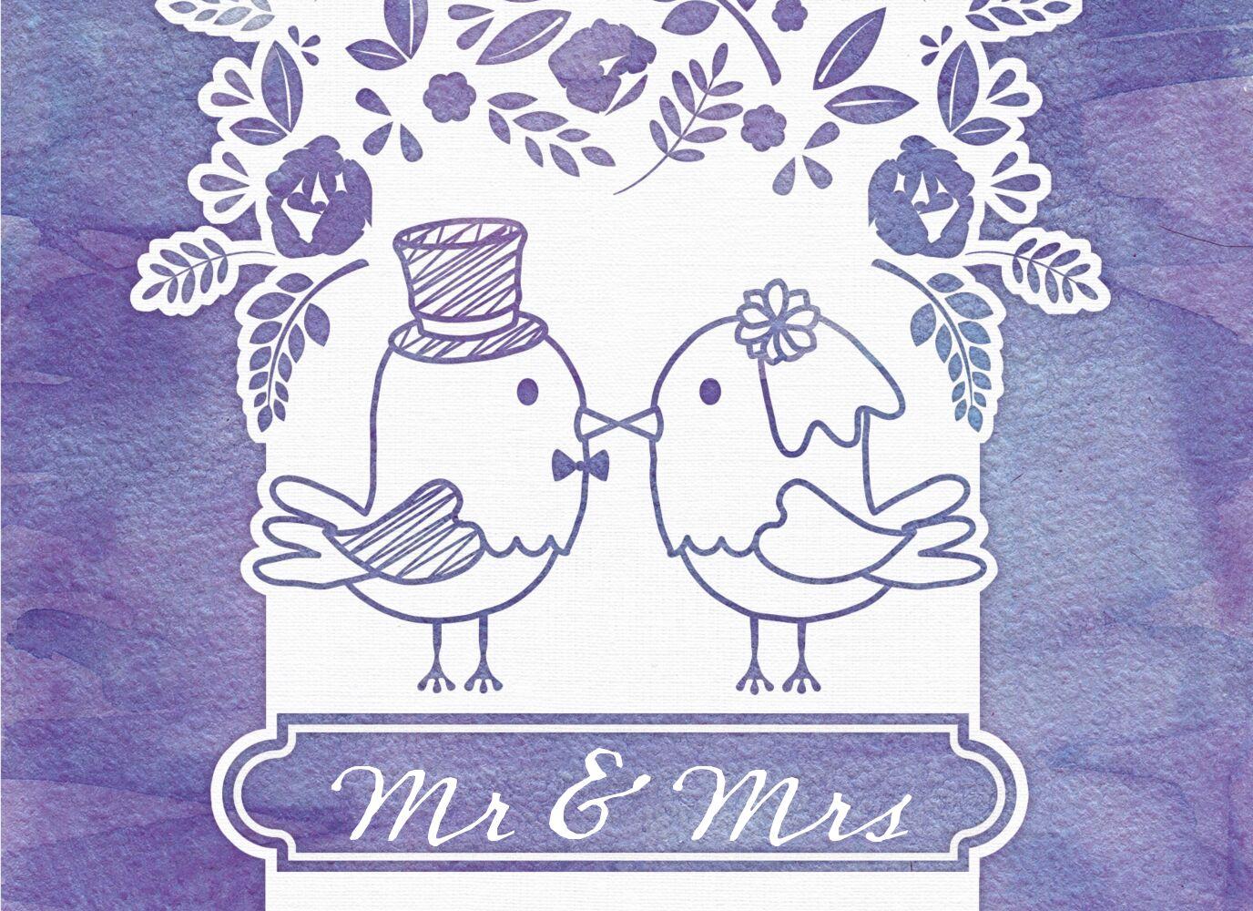 Ansicht 3 - Hochzeit Einladung Vogelpaar