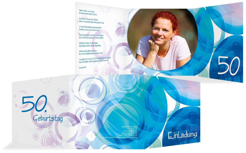 Einladungskarte colorful circles 50 Foto