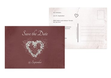 Save-the-Date glamour heart