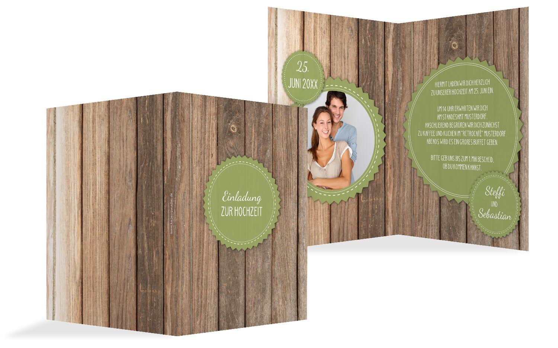 Hochzeit Einladung Vintage Holz