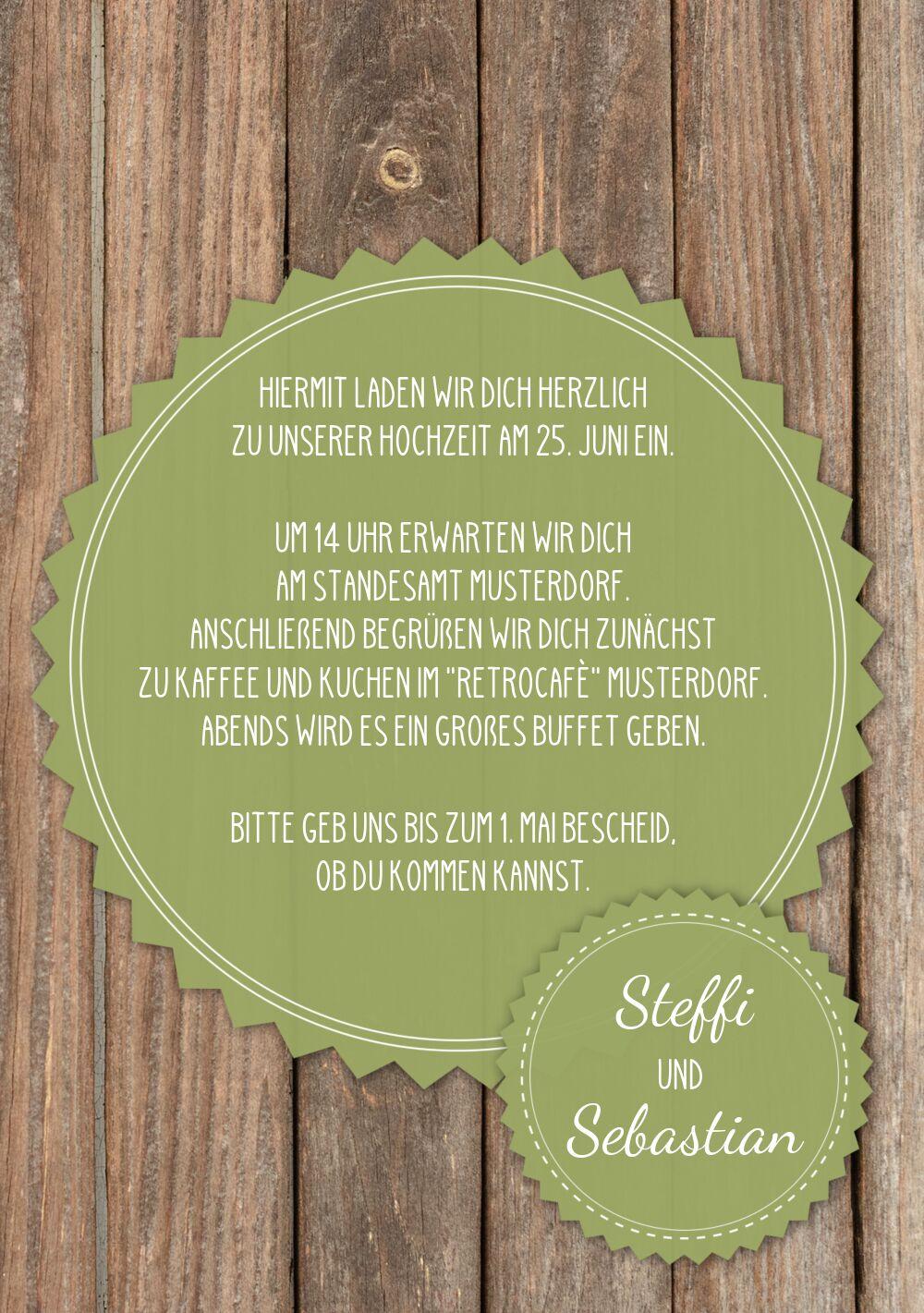 Ansicht 5 - Hochzeit Einladung Vintage Holz
