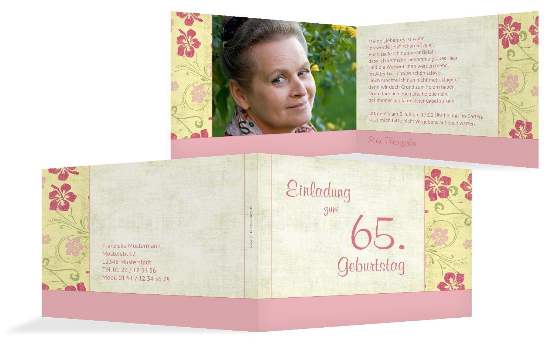 Einladung zum Geburtstag Foto Hibiskus 65