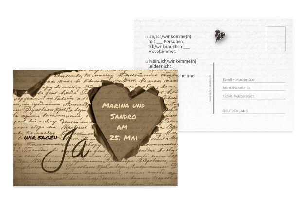 Hochzeit Antwortkarte Herzensgedicht