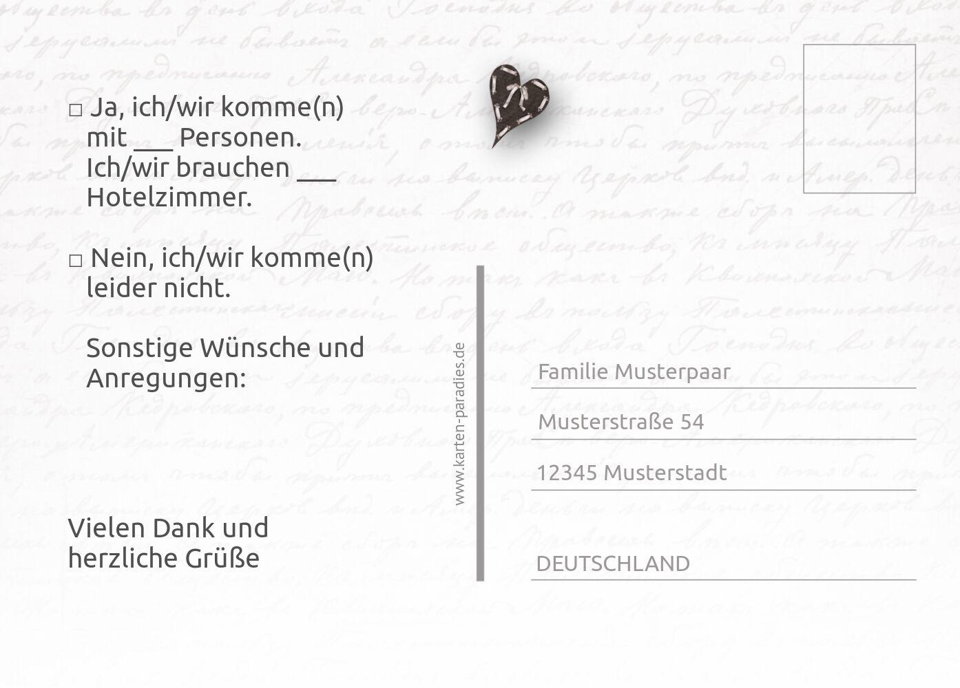 Ansicht 3 - Hochzeit Antwortkarte Herzensgedicht