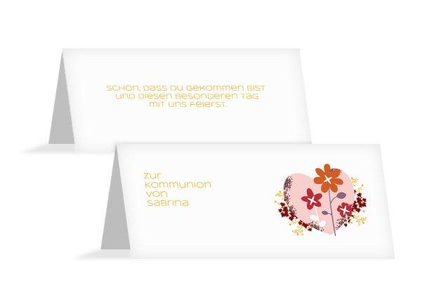 Tischkarte zur Kommunion Herz