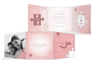 Hochzeit Einladungskarte Puzzle