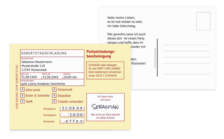 Einladung Partyeinladungsbescheinigung