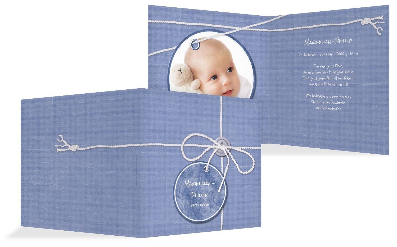 Baby Dankeskarte Faden