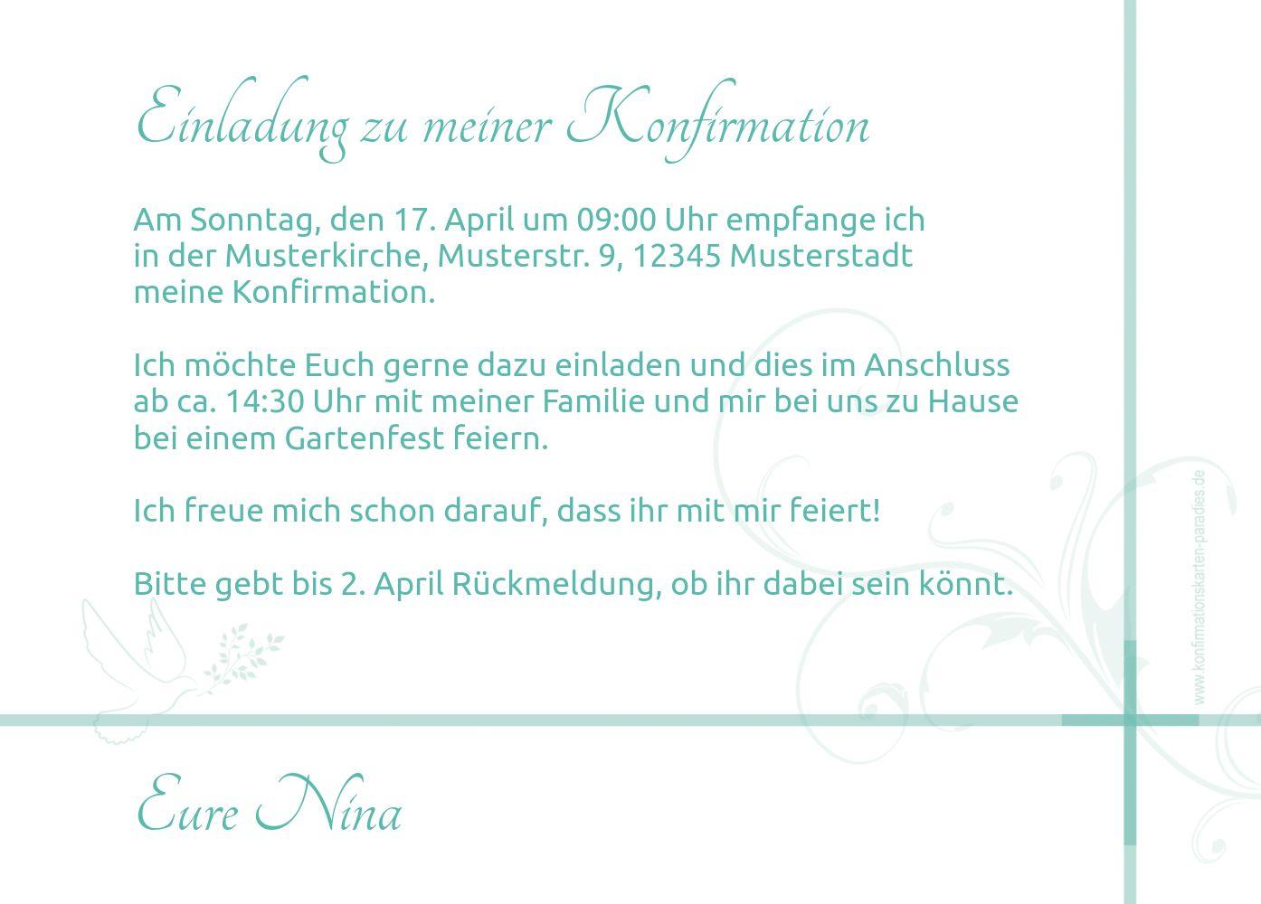 Ansicht 3 - Einladungskarte zur Konfirmation floral