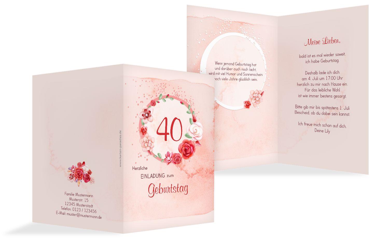 Geburtstagseinladung Aquarell Rosen 40