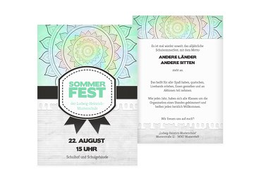 Einladung Sommerfest Psychedelic AquaTürkis 105x148mm