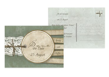 Save-the-Date Vintage Lace hellgrünblau 148x105mm