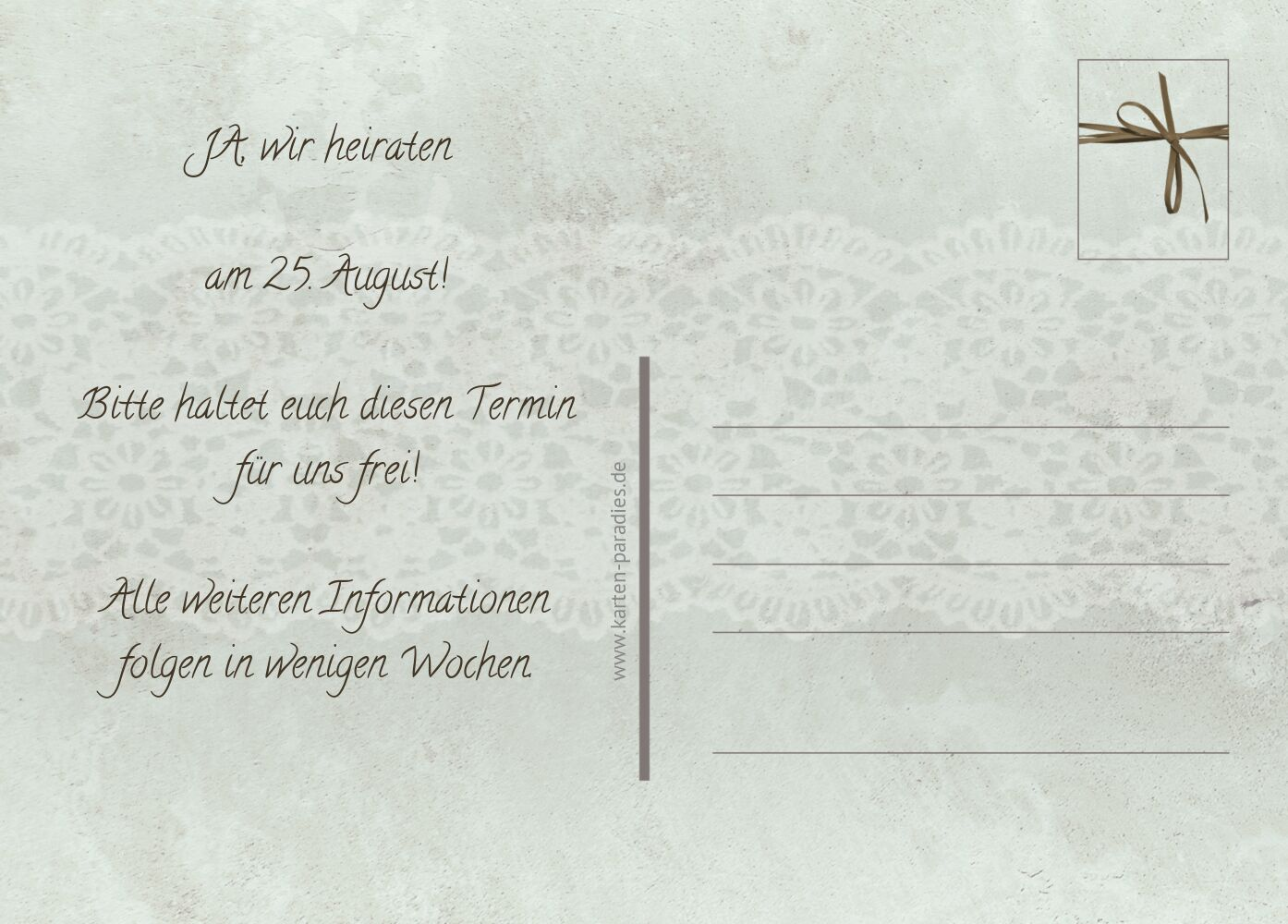 Ansicht 3 - Save-the-Date Vintage Lace