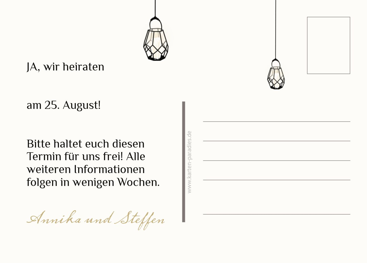 Ansicht 3 - Save-the-Date Vintage Laterne