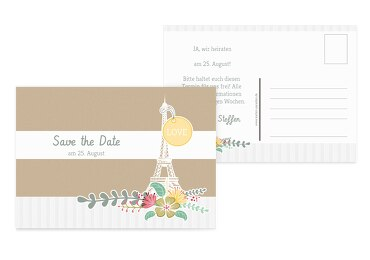 Save-the-Date Paris Trauerbeige 148x105mm
