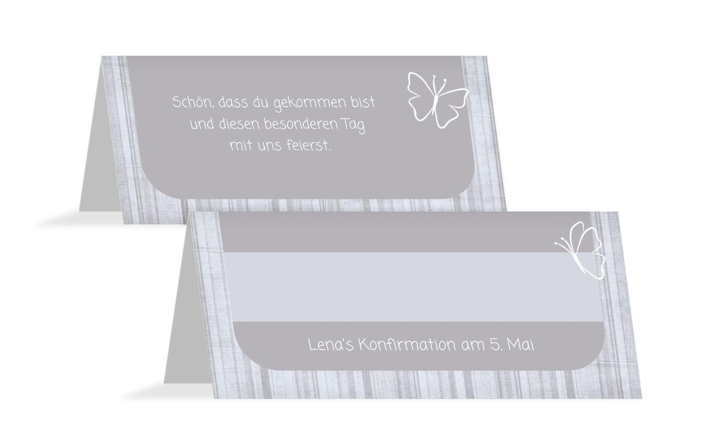 Tischkarte Konfirmation Butterfly 2