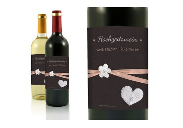 Hochzeit Flaschenetikett sanfte Blüte