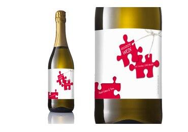 Flaschenetikett Puzzleteile